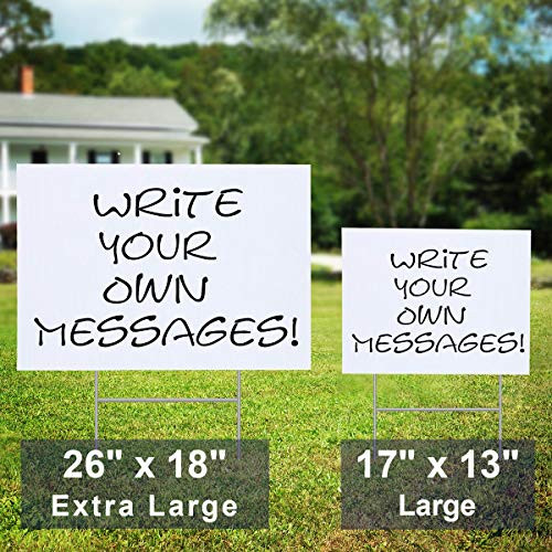5 Pack Blank Yard Signs 13quot x17quot - Lawn Sign with Metal
