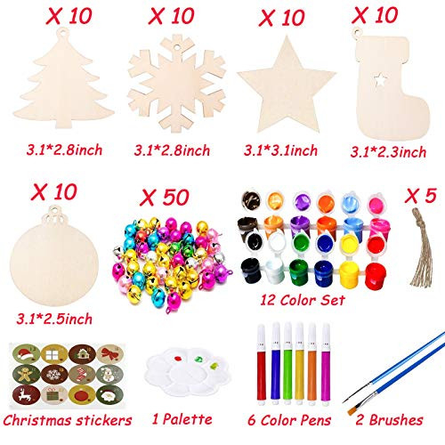 VLUSSO 50Pcs Unfinished Wooden Christmas Ornaments 5 Styles